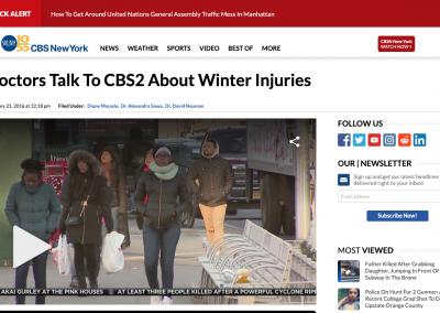 CBS New York, Discussing Winter Injuries: Feb. 21, 2016